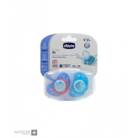 CHICCO CHUPETE PHYSIO AIR SILIC AZUL 2 UD 6-12M